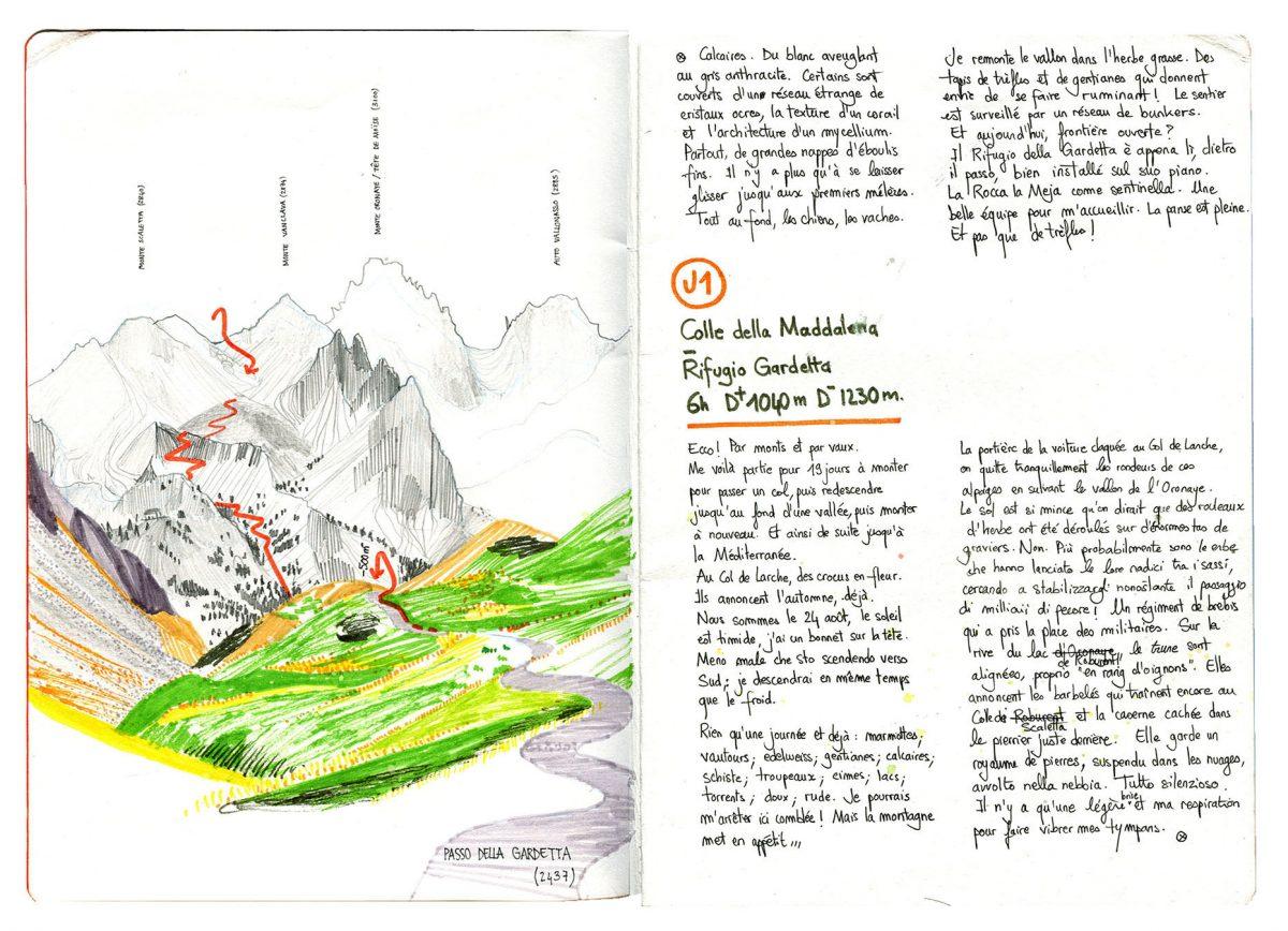 Grande Traversée des Alpes de la Méditerranée, carnet de voyage, Hélène Copin.