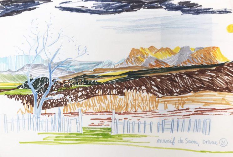 Vallée de la Drôme, forêt de Saou, dessin, copindesbois