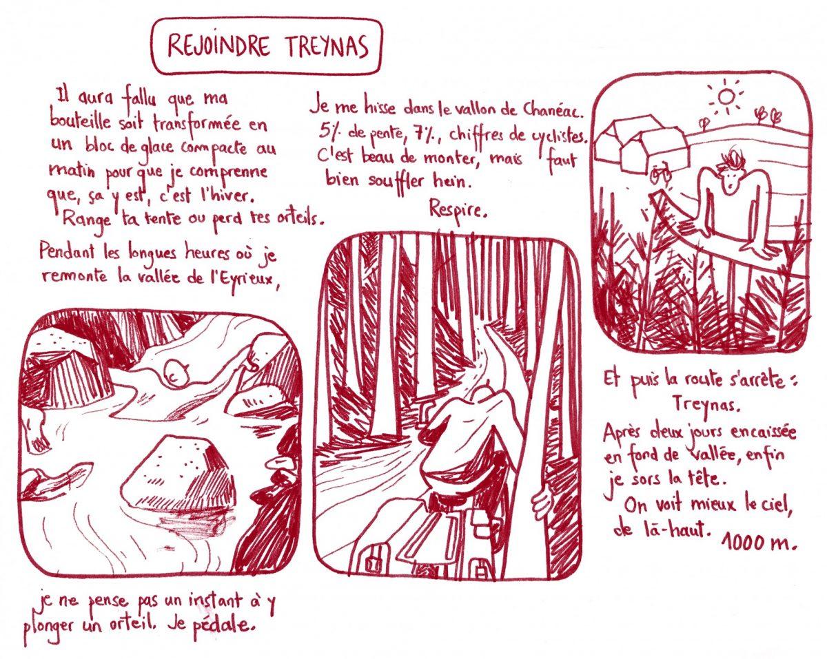 Treynas, arrivée à vélo dans la vallée de l'Eyrieux, reportage dessiné