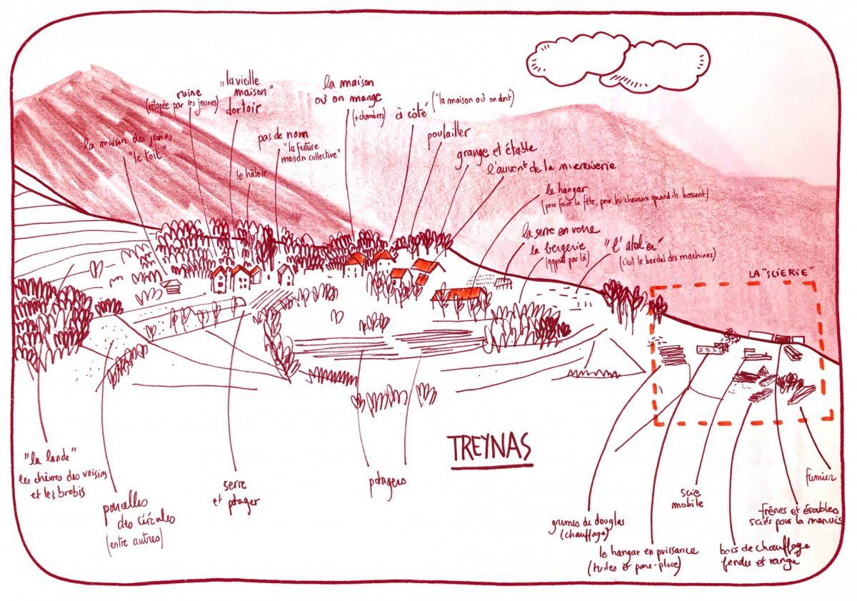 Treynas, le hameau. Coopérative Longo Maï, reportage dessiné