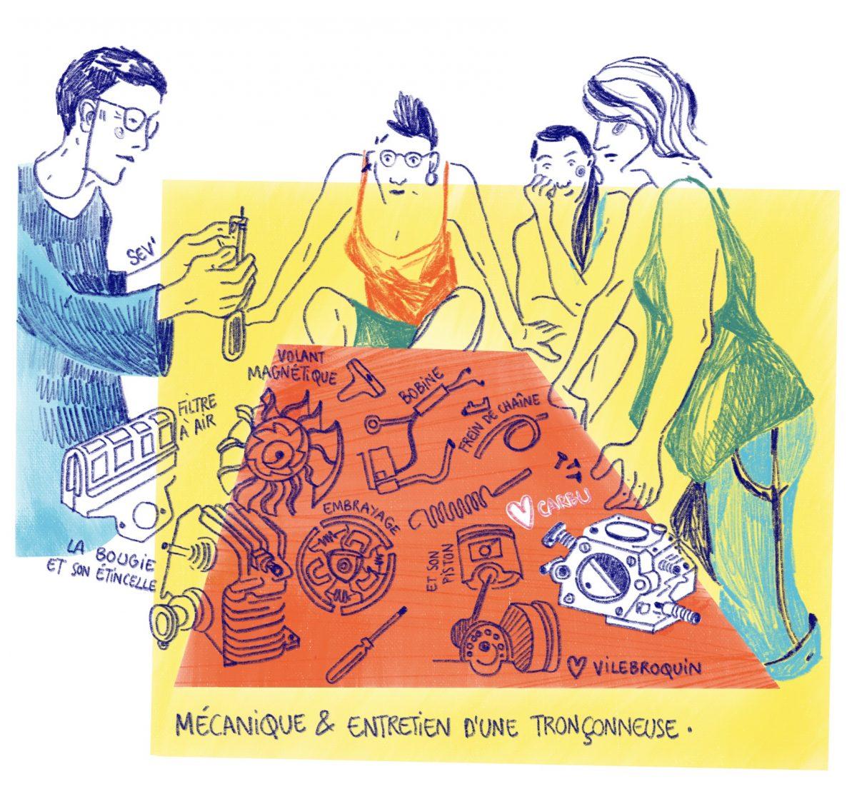 Rencontres de charpentières, atelier de mécanique tronçonneuse en mixité choisie